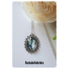 Scroll framed photo pendant necklace