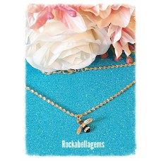 Gold plated buzzy bee pendant necklace