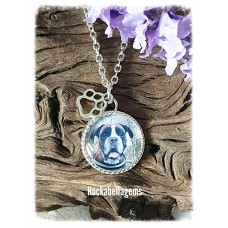 Pet animal paw print photo charm pendant necklace