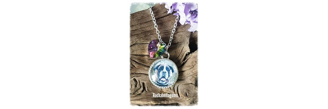 Pet animal rainbow heart photo charm pendant necklace