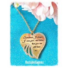 Sometimes I whisper I miss you heart pendant necklace