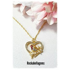 Golden Robin heart pendant