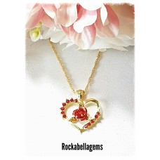 Gold plated crystal rose heart necklace