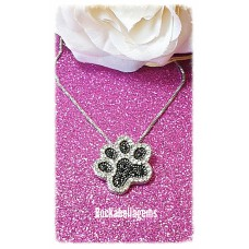 Silver & black crystal paw print pendant necklace