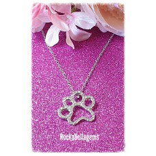 Silver plated rhinestone paw print pendant necklace