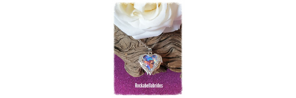 Crystal Angel winged heart in blue pendant necklace