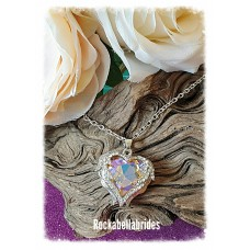 Crystal Angel winged heart in champagne pendant necklace