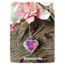 Crystal Angel winged heart in red pendant necklace