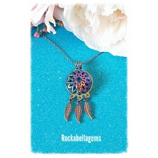 Rainbow dream catcher pendant necklace