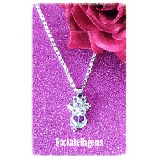Silver plated crystal flower pendant necklace
